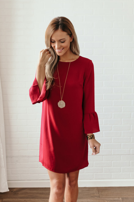 Everly Noelle Peplum Sleeve Shift Dress - Burgundy - FINAL SALE