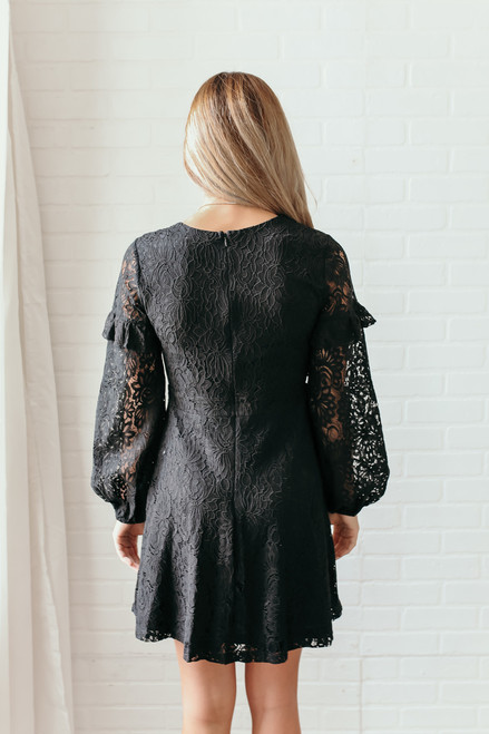Everly Ruffle Fit & Flare Lace Dress - Black  - FINAL SALE