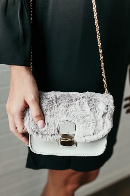 Cinderella Story Faux Fur Crossbody Bag - Grey  - FINAL SALE