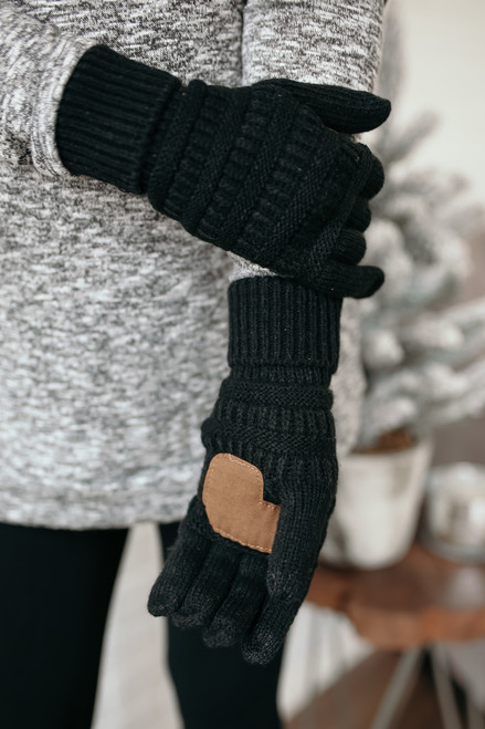 Solid Knit Touchscreen Gloves - Black