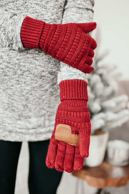 Solid Knit Touchscreen Gloves - Burgundy  - FINAL SALE