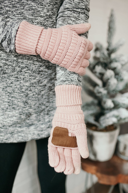 Solid Knit Touchscreen Gloves - Pink