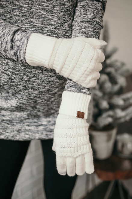 Solid Knit Touchscreen Gloves - Ivory