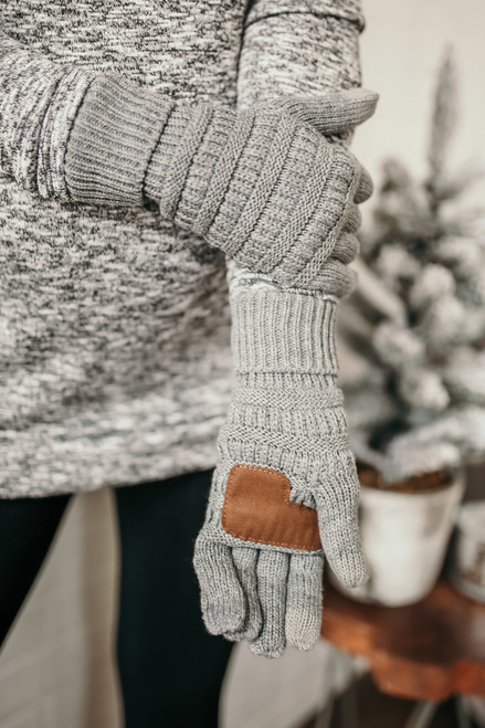 Solid Knit Touchscreen Gloves - Grey
