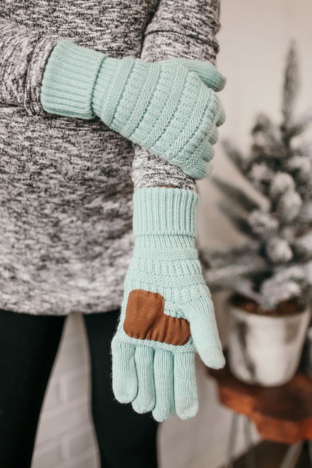 Solid Knit Touchscreen Gloves - Mint  - FINAL SALE