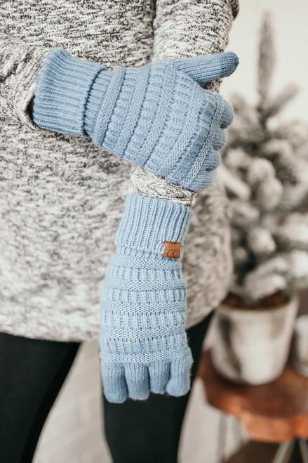 Solid Knit Touchscreen Gloves - Light Blue  - FINAL SALE