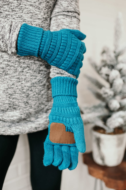 Solid Knit Touchscreen Gloves - Teal - FINAL SALE