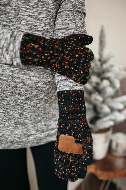 Confetti Knit Touchscreen Gloves - Black
