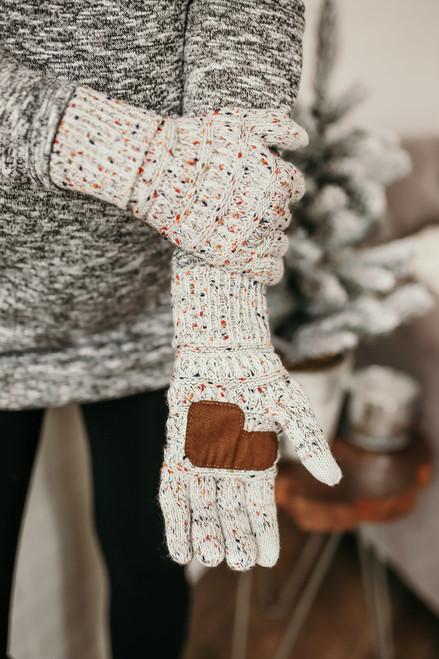 Confetti Knit Touchscreen Gloves - Oatmeal