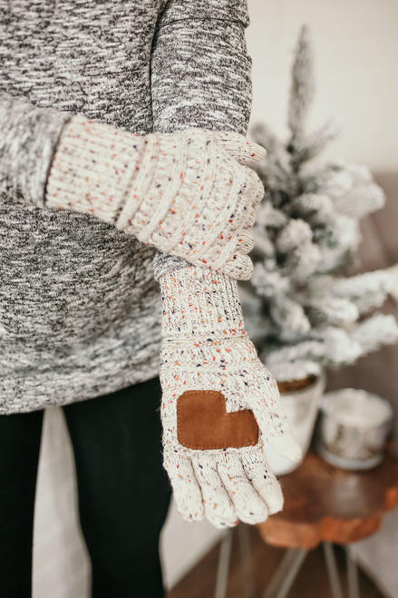 Confetti Knit Touchscreen Gloves - Ivory