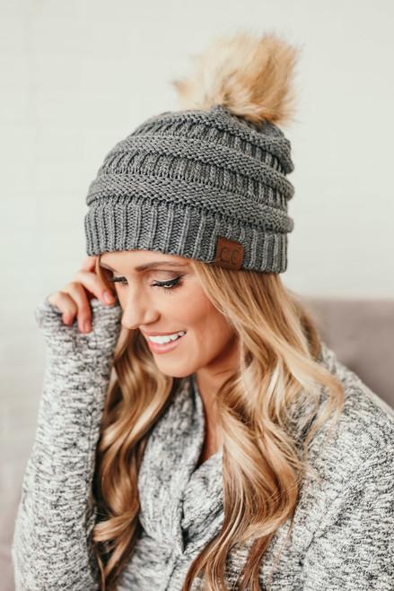 Pom Knit Beanie - Grey
