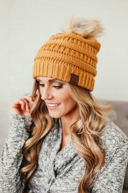 Pom Knit Beanie - Mustard - FINAL SALE