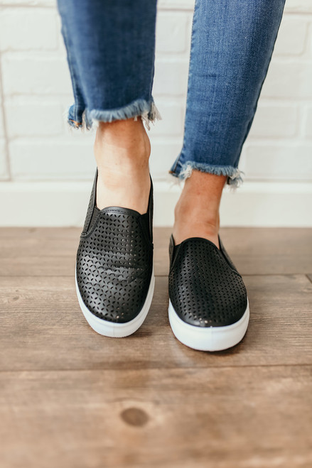 MIA Edith Perforated Slip On Sneakers - Black - FINAL SALE