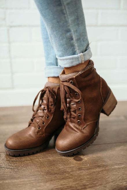 MIA Jonel Sweater Detail Hiker Boots - Brown - FINAL SALE