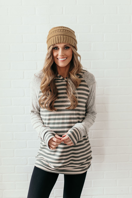 Soft Brushed Detail Striped Hoodie - Heather Grey/Olive/Beige