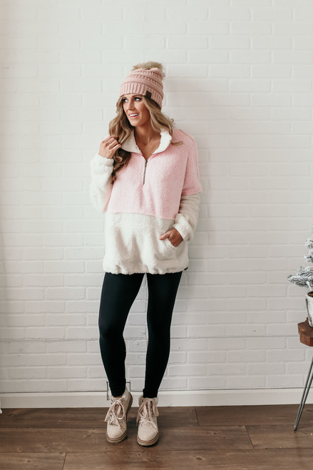 Snow Bunny Colorblock Pullover - Pink/Ivory - FINAL SALE