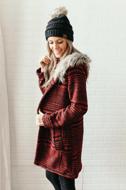 BB Dakota Play it Cool Plaid Coat - Red/Black - FINAL SALE