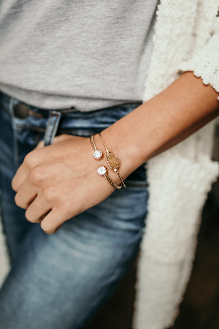 Wire Wrapped Druzy Bracelet - Gold