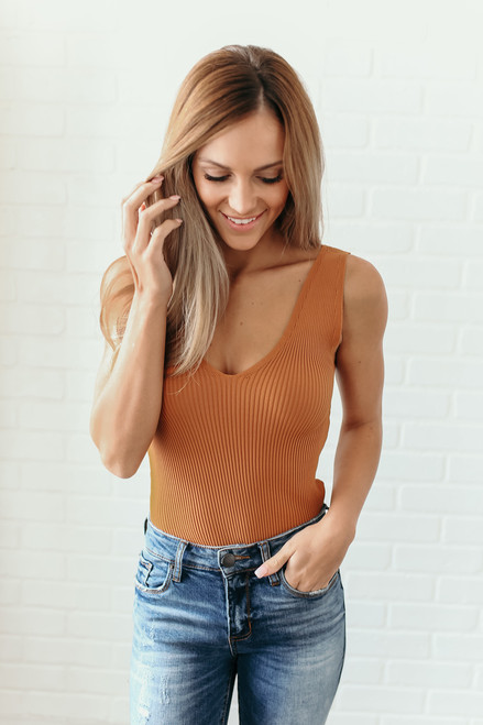 Into the City V-Neck Ribbed Bodysuit - Camel - FINAL SALE