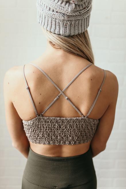 Strappy Scalloped Lace Bralette - Cocoa