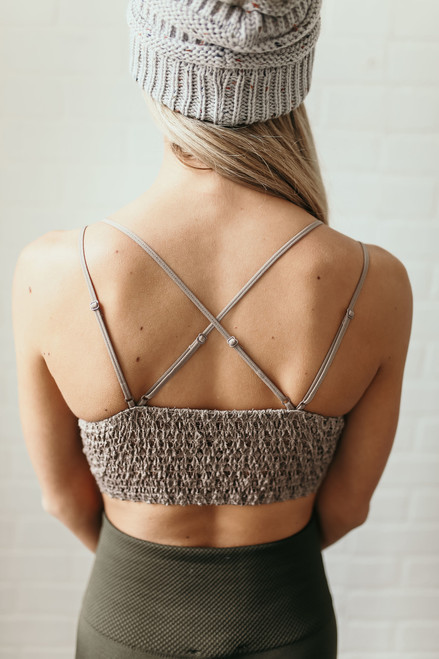 Strappy Scalloped Lace Bralette - Cocoa