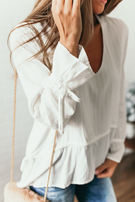 V-Neck Embroidered Tie Waist Top - Off White  - FINAL SALE