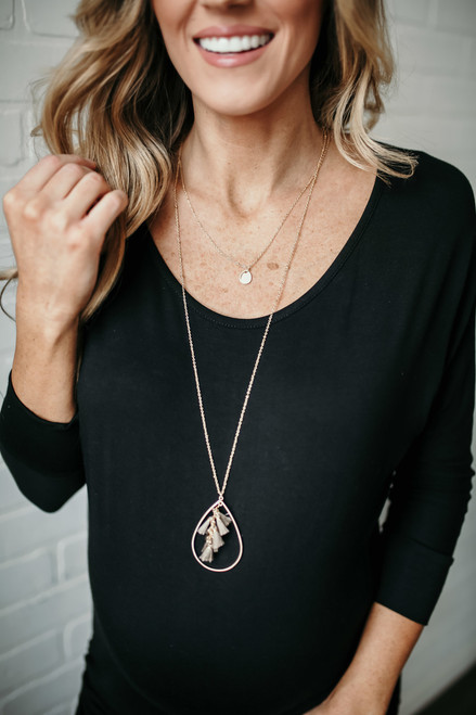 Tassel Detail Teardrop Necklace Set - Gold