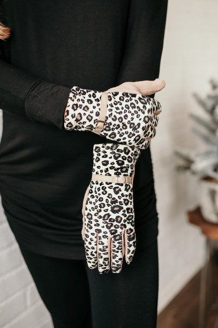 Evelyn Belted Leopard Gloves - Beige Multi  - FINAL SALE