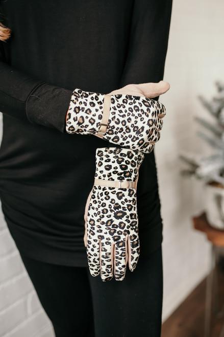 Evelyn Belted Leopard Gloves - Beige Multi
