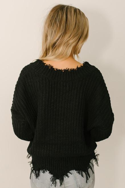 Conversation Starter Frayed Edge Sweater - Black