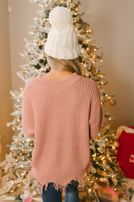 Conversation Starter Frayed Edge Sweater - Mauve - FINAL SALE