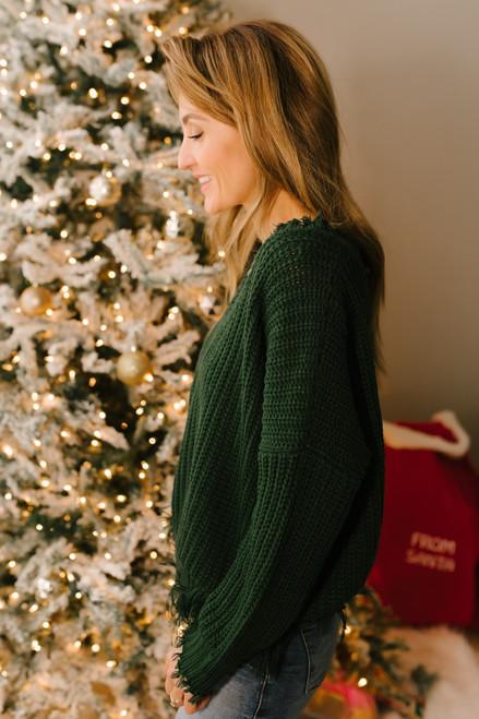 Conversation Starter Frayed Edge Sweater - Hunter Green - FINAL SALE