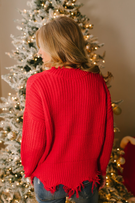 Conversation Starter Frayed Edge Sweater - Red