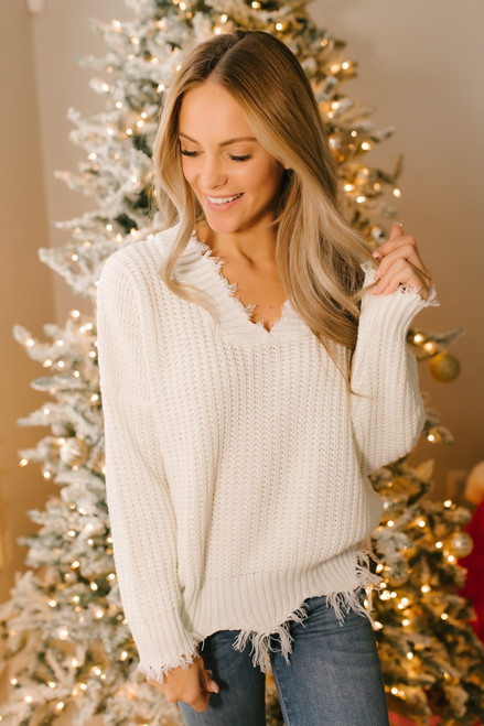 Conversation Starter Frayed Edge Sweater - Ivory - FINAL SALE