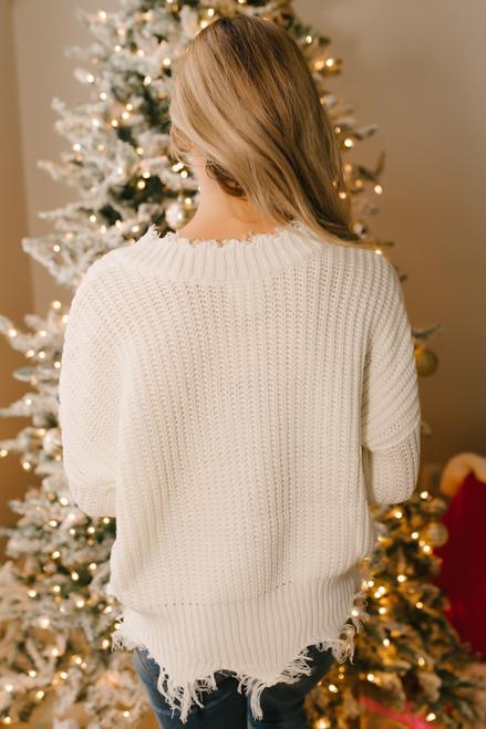 Conversation Starter Frayed Edge Sweater - Ivory