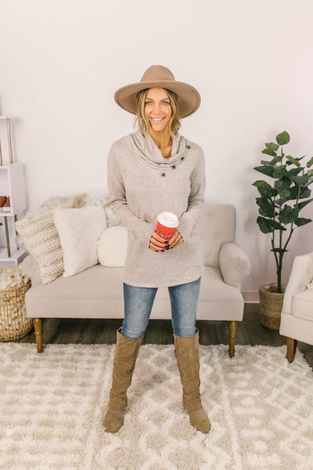 Gathered Button Fleece Tunic - Heather Oatmeal