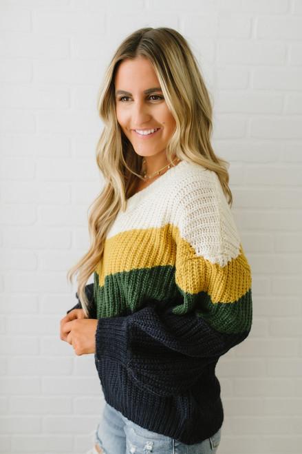 Ivy House V-Neck Colorblock Sweater - Ivory/Mustard/Green/Navy - FINAL SALE