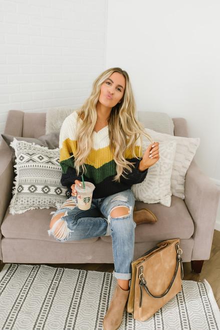 Ivy House V-Neck Colorblock Sweater - Ivory/Mustard/Green/Navy