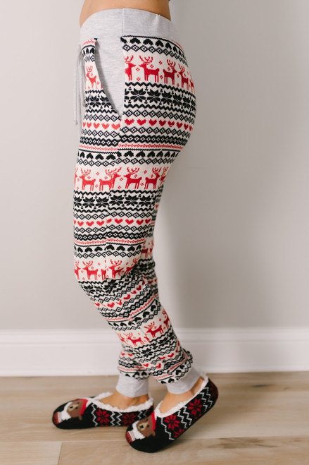 Christmas Morning Reindeer Joggers - Ivory Multi - FINAL SALE