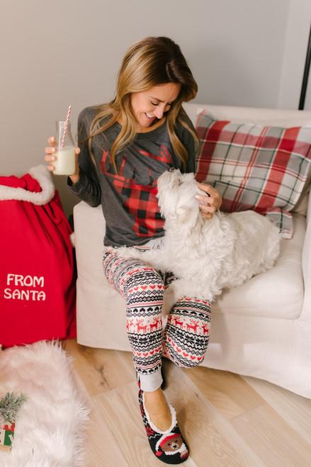 Christmas Morning Reindeer Joggers - Ivory Multi