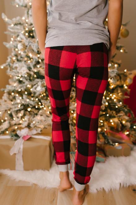 Christmas Morning Plaid Joggers - Red/Black