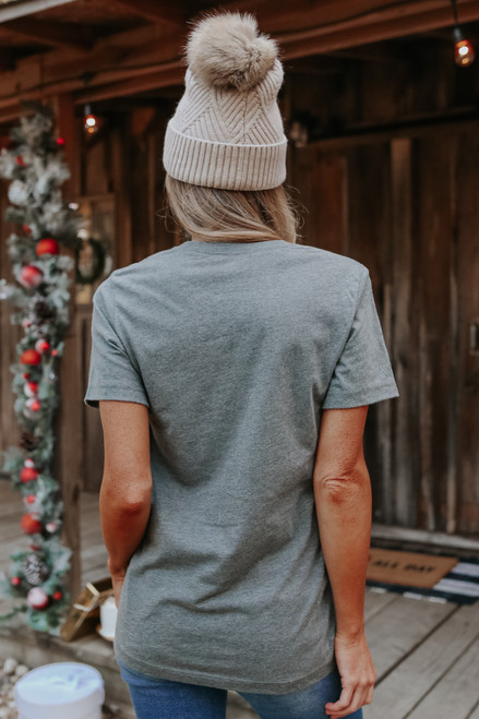 Sippin' Through the Snow Graphic Tee - Charcoal