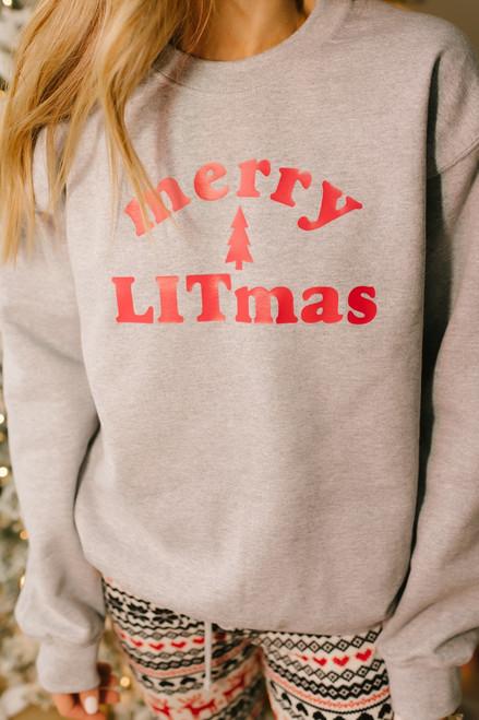 Merry Litmas Graphic Sweatshirt - Heather Grey