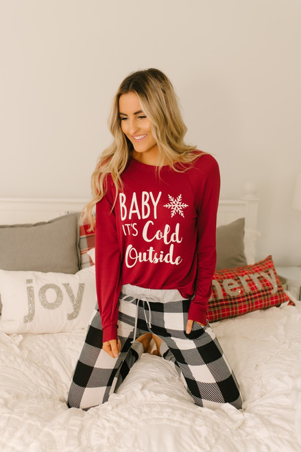Baby It's Cold Outside Pullover - Burgundy