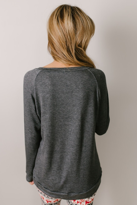 Buffalo Plaid Reindeer Pullover - Charcoal