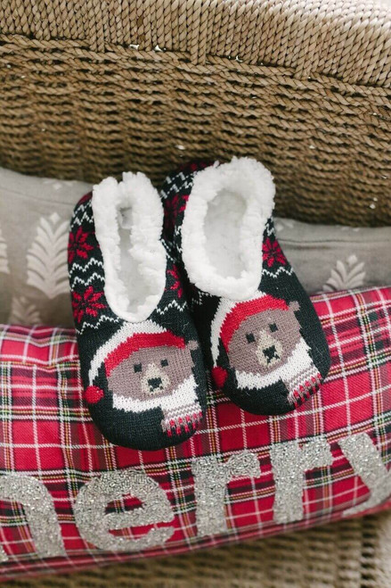 Teddy Bear Fleece Slippers - Black - FINAL SALE