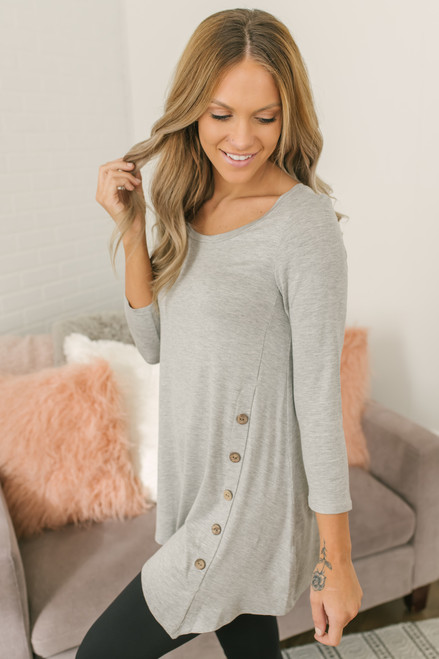 3/4 Sleeve Button Detail Tunic - Heather Grey - FINAL SALE