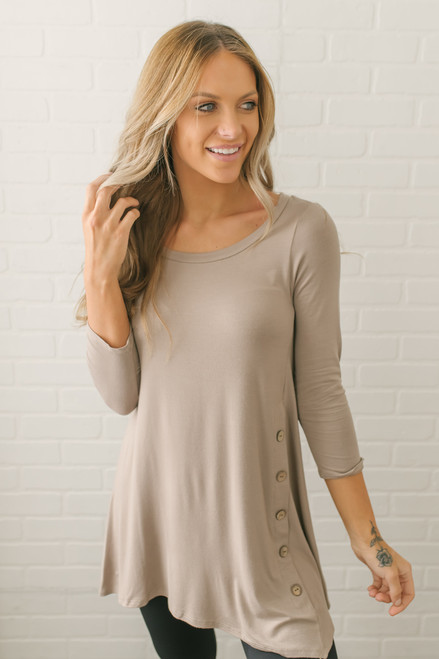 3/4 Sleeve Button Detail Tunic - Taupe - FINAL SALE