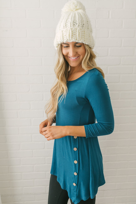 3/4 Sleeve Button Detail Tunic - Teal - FINAL SALE