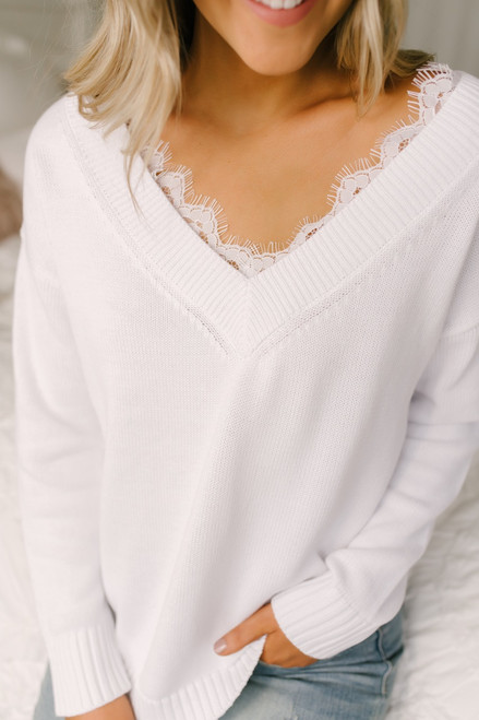 Snow Princess V-Neck Lace Detail Sweater - White - FINAL SALE